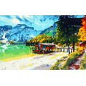 "Картина по номерам Рыжий кот ""Италия Озеро Брайес"", PP002, 55 х 40 см"