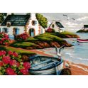 "Картина по номерам Рыжий кот ""Лодка на берегу"", Х-6142, 34 х 40 см"