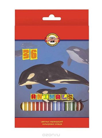 """Цветные карандаши """"Животные"""", 36 цветов"""