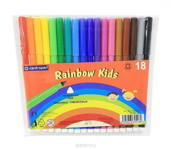 """Набор смываемых фломастеров """"Rainbow Kids"""", 18 цветов"""