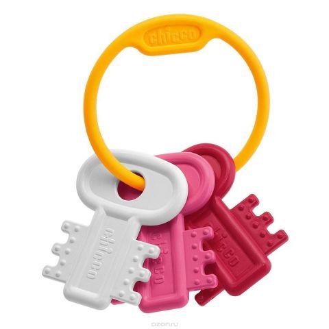 "Chicco Погремушка ""Ключи на кольце"", цвет: белый, розовый"