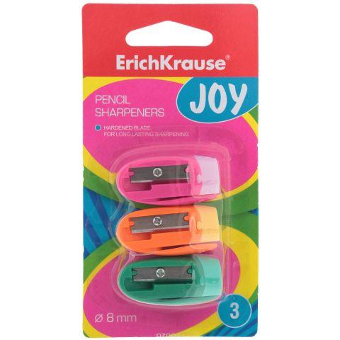 Набор точилок Erich Krause Joy цвет розовый оранжевый зеленый 3 шт