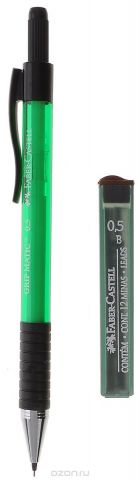 Faber-Castell Механический карандаш Grip Matic с ластиком и запасными грифелями цвет корпуса зеленый