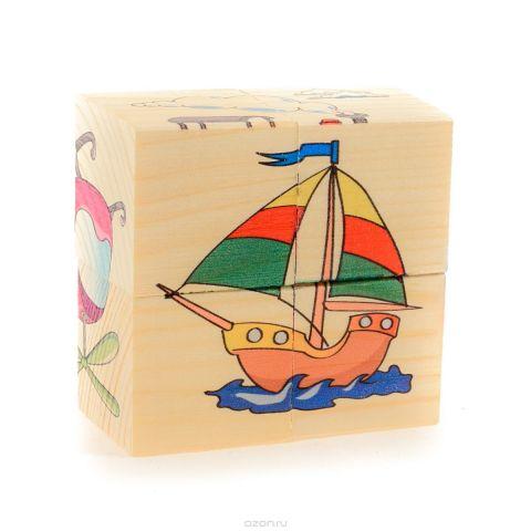 Развивающие деревянные игрушки Кубики Транспорт Д483а