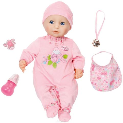 Baby Annabell Пупс с мимикой в розовом комбинезоне 794-821
