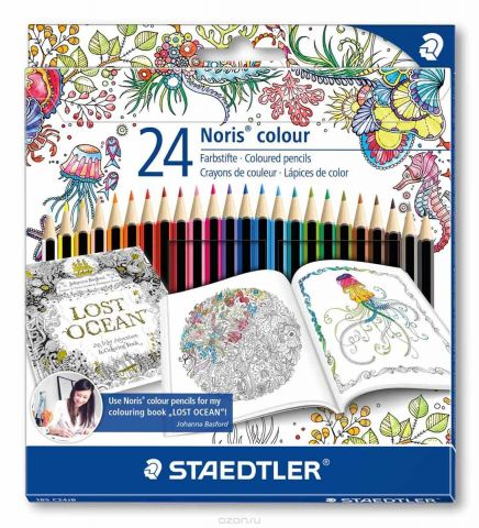 Staedtler Набор цветных карандашей Noris Colour Johanna Basford 24 цвета