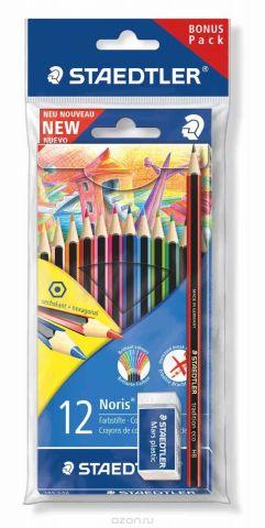 Staedtler Набор цветных карандашей WOPEX 12 цветов с чернографитным карандашом 180T-HB и ластиком