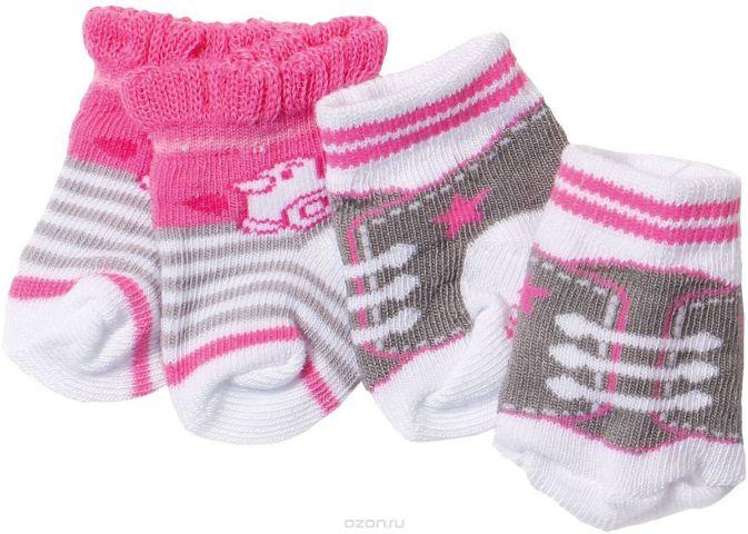 Baby Born Одежда для кукол Носочки 2 пары цвет белый, розовый, коричневый