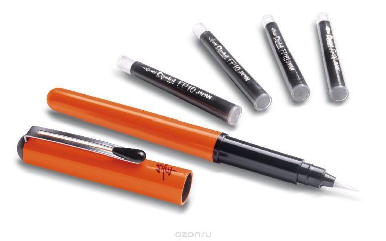 Pentel Ручка-кисть для каллиграфии Brush Pen цвет корпуса оранжевый + 4 картриджа
