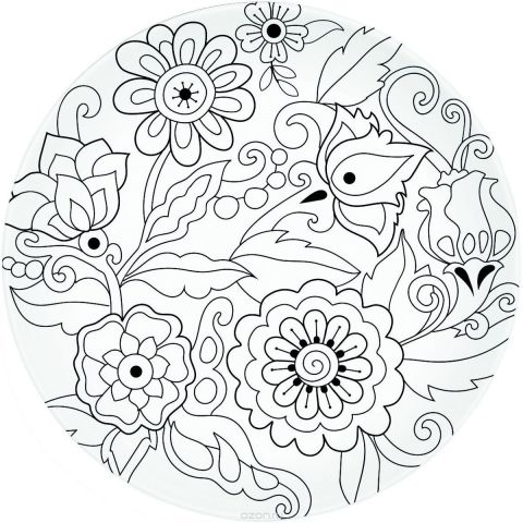 """Тарелка Easy Life """"Цветы"""", с красками и кисточкой, диаметр 19,5 см"""