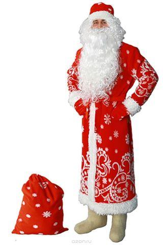 """Карнавальный костюм Sima-land """"Дед Мороз"""": шуба, шапка, варежки, пояс, мешок, цвет: красный. Размер 56/58"""