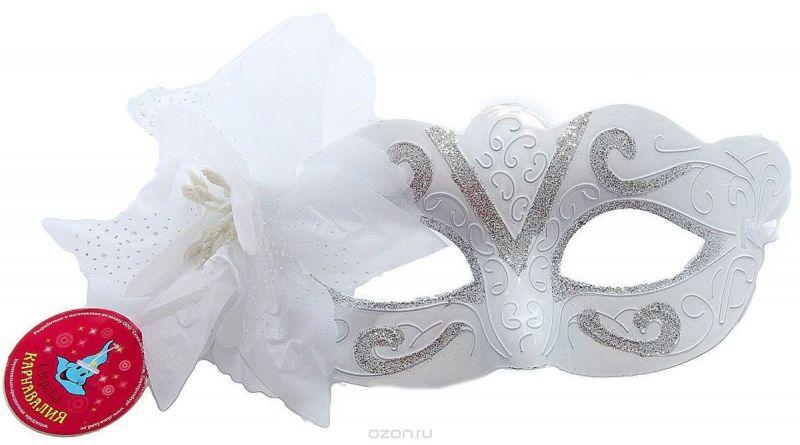 """Маска карнавальная Страна Карнавалия """"С узором. С цветком"""", цвет: белый, 18 х 12 см"""