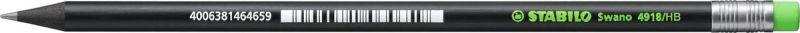 STABILO Карандаш Swano 4918 чернографитный цвет корпуса черный цвет ластика неоновый зеленый