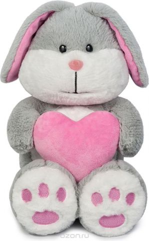 Maxitoys Мягкая игрушка Зайка Серый с сердцем 23 см