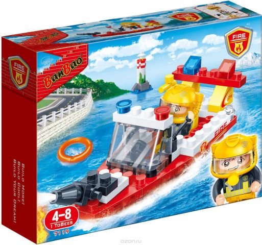 BanBao Конструктор Пожарный катер 62 детали