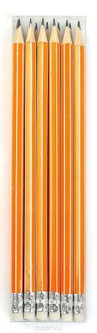 Calligrata Карандаш чернографитный Полоски с ластиком твердость HB цвет корпуса оранжевый белый
