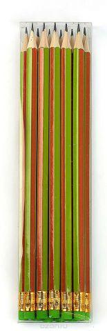 Calligrata Карандаш чернографитный Полоски с ластиком твердость HB цвет корпуса зеленый оранжевый