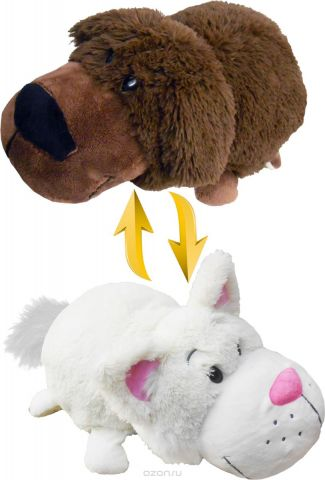 1TOYМягкая игрушкаВывернушка 2в1 Шоколадный Лабрадор-Белый кот 20 см