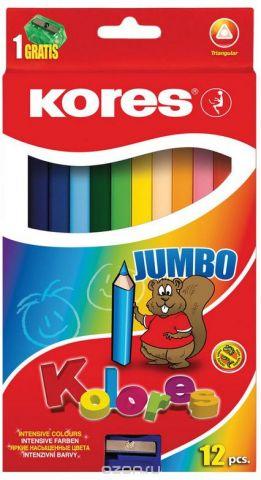 Kores Набор цветных карандашей Jumbo с точилкой 12 цветов