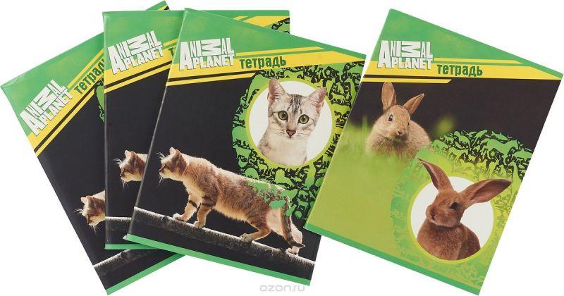 Action! Набор тетрадей Animal Planet Собаки 96 листов в клетку 4 шт