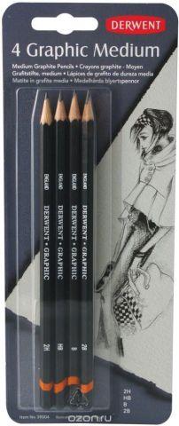 Derwent Набор чернографитных карандашей Graphic Medium 4 шт