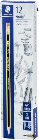 Набор чернографитовых карандашей Staedtler Noris 122 НВ, с ластиком, 12 шт