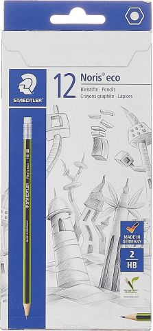 Набор чернографитовых карандашей Staedtler Noris Eco HB, с ластиком, 12 шт