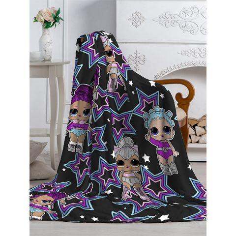 P0031010120 Плед Павлинка Аэро Софт Куклы LOL звезда черный, р.150*200