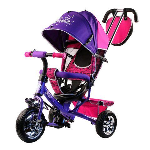 """BARBIE HB7VS Велосипед-коляска Barbie, колеса 10""""и 8"""",с руч.управ.,наклонная спинка,фиолетов."""